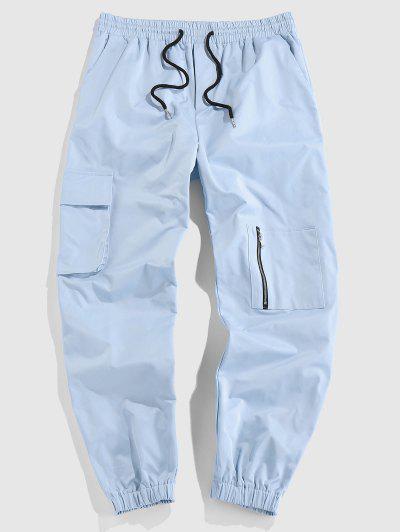 ZAFUL Solid Color Multi-pocket Pants - Light Blue Xxl