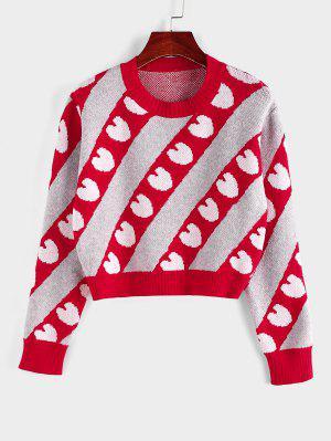 zaful ZAFUL Heart Striped Crop Jumper Sweater