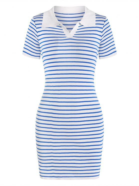 unique Contrast Stripes Collared Slinky Knitted Dress - BLUE ONE SIZE