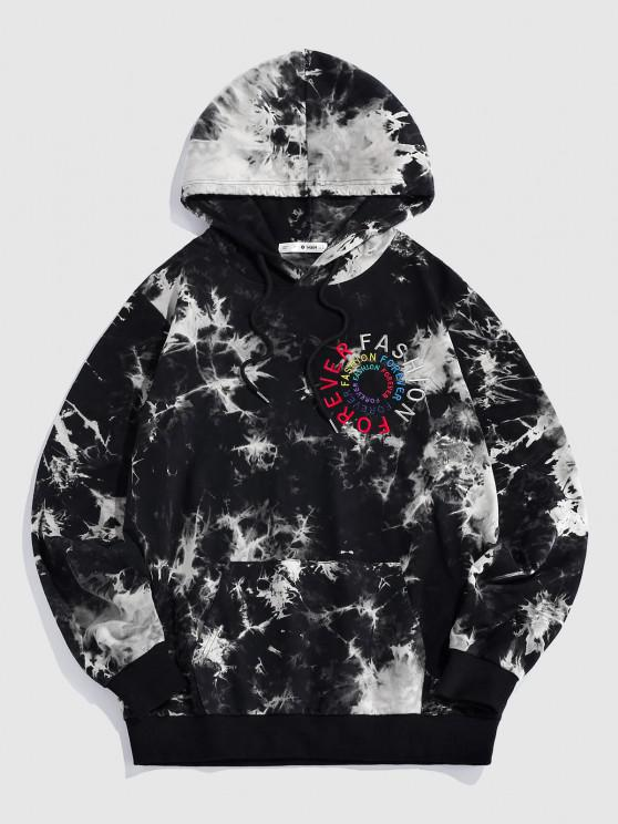 ZAFUL Letters Embroidered Tie Dye Print Hoodie - أسود L