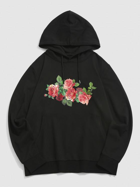 ZAFUL Rose Flowers Print Front Pocket Hoodie - أسود L