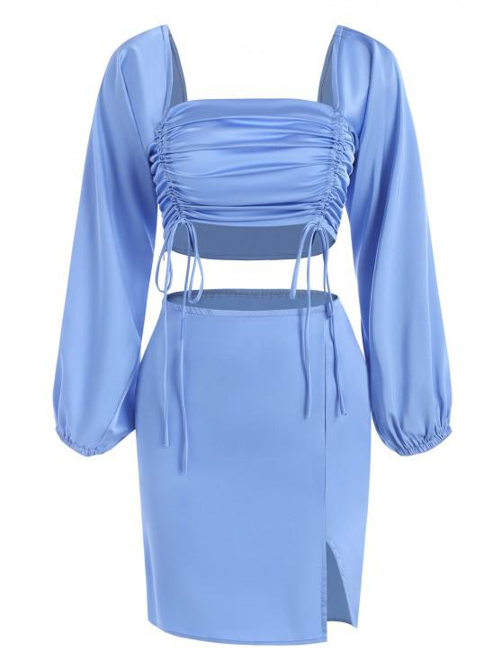 Cinched Slit Bodycon Skirt Set - أزرق S