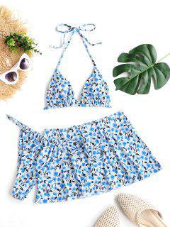 ZAFUL Floral Ribbed Tie Three Piece Bikini Swimwear - Light Blue L