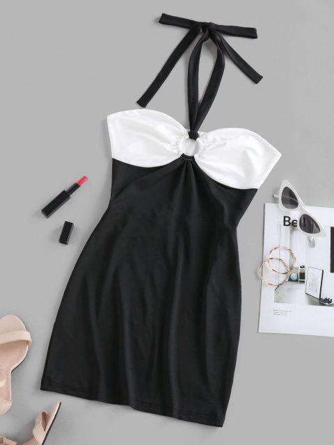 ZAFUL Zweifarbiges Rückenfreies Bodycon Kleid - Schwarz M Mobile