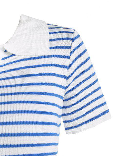 Asymmetrisches Gestricktes Kleid mit Kontraststreifen - Blau Eine Größe Mobile