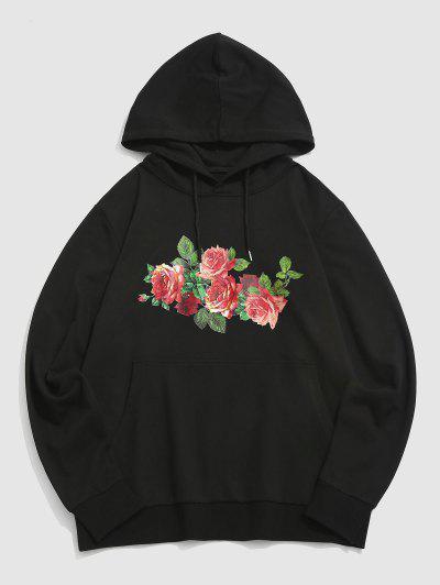 ZAFUL Rose Blumendruck Vorder Tasche Hoodie - Schwarz Xl