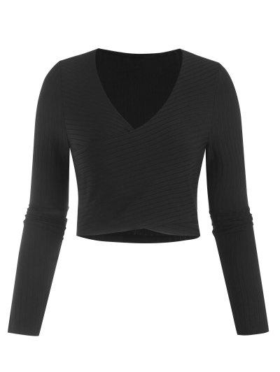 Ribbed Knit Surplice Slim Crop Tee - Black S