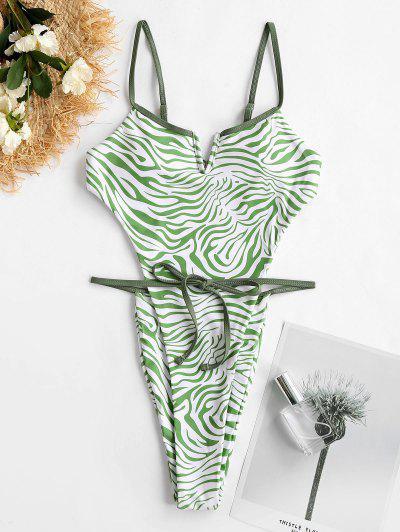 ZAFUL Zebra V Verdrahtete Badebekleidung Mit Hohem Bein - Grün Xl