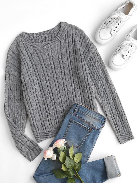 Zopfmuster Pullover mit Hängender Schulter - Grau M