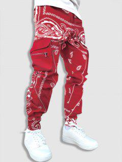 Contrast Paisley Print Cargo Pants - Red S