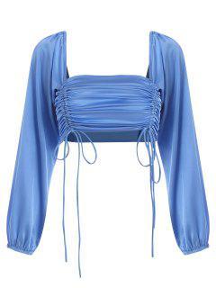 Blusa Recortada Suelta De Satén - Azul L