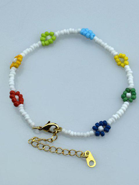 Perlenblumenarmband - Weiß  Mobile