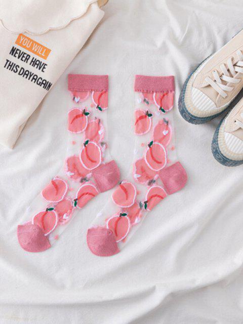 Frucht Muster Atmungsaktive Maschen Crew Socken - Hell-Pink  Mobile