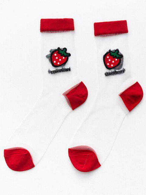 Frucht Muster Atmungsaktive Schiere Crew Socken - Rot  Mobile