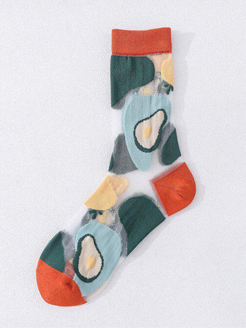 Farbblock Fruchtdruck Atmungsaktive Maschen Socken - Kirschrot  Mobile