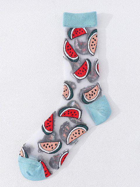 Fruchtdruck Maschen Atmungsaktive Crew Socken - Mittlerer Türkis  Mobile