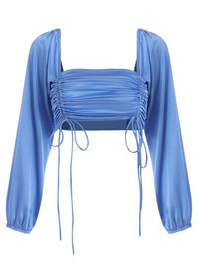 Satin Cinched Crop Blouse - Blue L