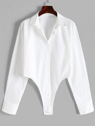 Asymmetrical Hem Button Down Shirt - White S
