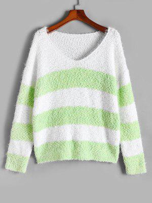 zaful ZAFUL Plus Size Colorblock Striped Fuzzy Boucle Sweater