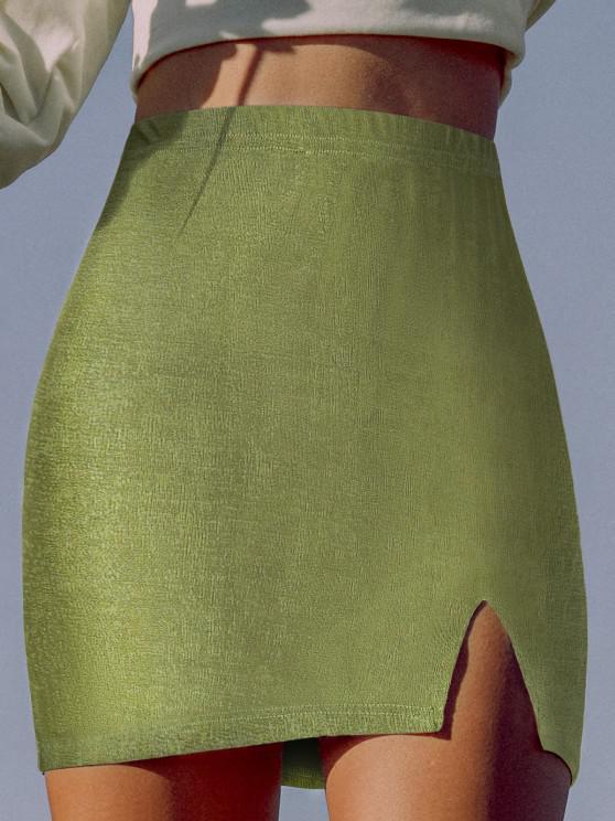 new ZAFUL Jersey Slit Mini Skirt - LIGHT GREEN S