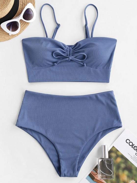 ZAFUL Gerippte Tankini Badebekleidung mit Hoher Taille - Blau S