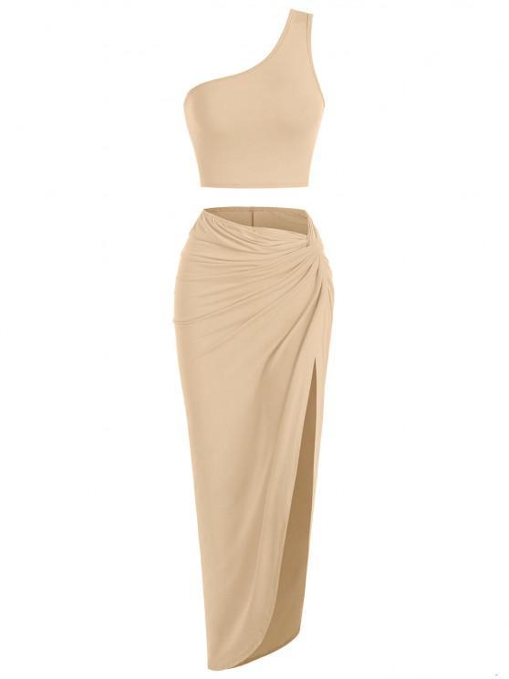 shop One Shoulder Twisted Side Asymmetrical Skirt Set - DEEP COFFEE S