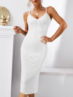 Lace Trim Ribbed Ruched Tie Collar Slinky Dress - White M