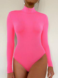 Mock Neck Neon Snap Crotch Long Sleeve Bodysuit - Light Pink S