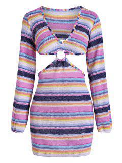 Vestido Rayado De Colores - Multicolor L