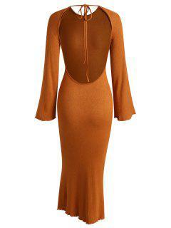 Tie Open Back Slinky Bell Sleeve Knit Maxi Dress - Coffee S