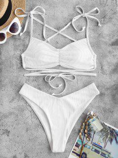 ZAFUL Conjunto De Bikini Acolchado Acanalado De Tiras Acanalada - Blanco L