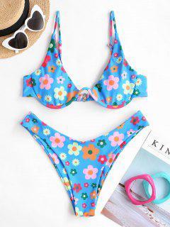 ZAFUL Conjunto De Bikini Sin Aros Con Estampado De Flores - Azul L