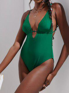ZAFUL O Ring Plunge Front One-piece Swimsuit - Deep Green Xl