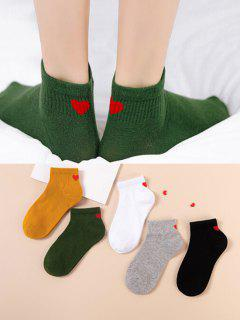 5 Pairs Heart Print Ribbed Cotton Ankle Socks - Multi-f