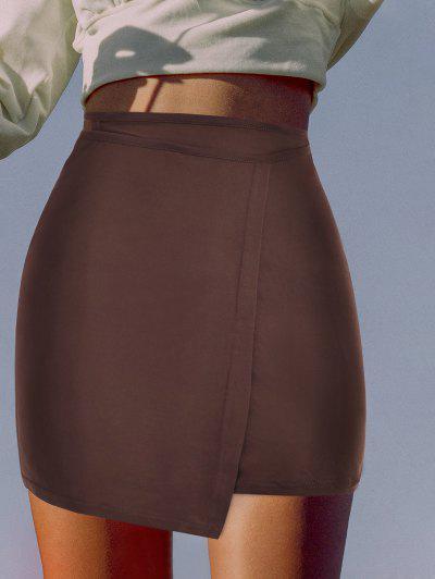 Midriff Flossing Jersey Mini Wrap Skirt - Deep Coffee S