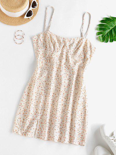 ZAFUL Tiny Floral Print Front Slit Mini Dress - Warm White S