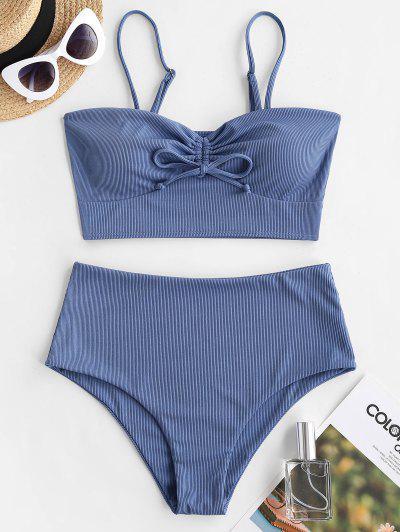ZAFUL Ribbed Cinched High Waisted Tankini Swimwear - Blue Xxl