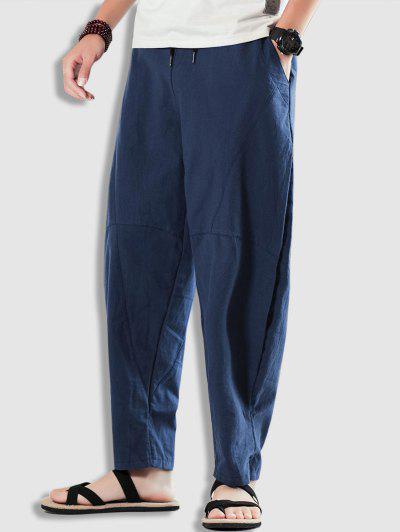 Plain Casual Barrel Pants - Cadetblue Xs