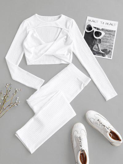 Ribbed Cutout Twisted Two Piece Pants Set - White L