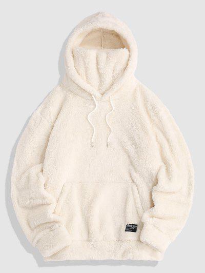 Front Pocket Applique Fluffy Mask Hoodie - White L