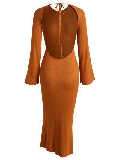 Tie Open Back Slinky Bell Sleeve Knit Maxi Dress - Coffee L