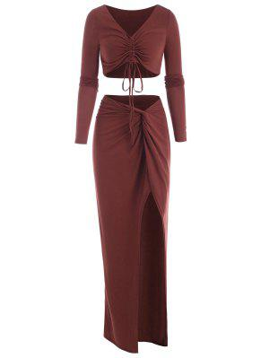 zaful Cinched Front Twisted Thigh Slit Skirt Set