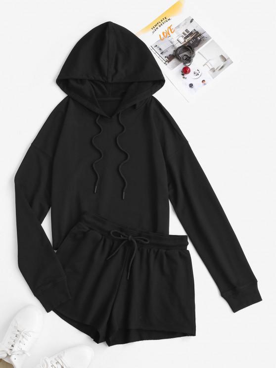 women Hooded Drop Shoulder Pocket Drawstring Sports Shorts Set - BLACK S
