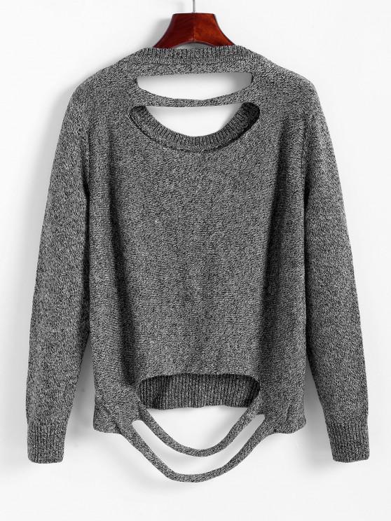 Marled Distressed Jumper Pullover - Dunkelgrau S