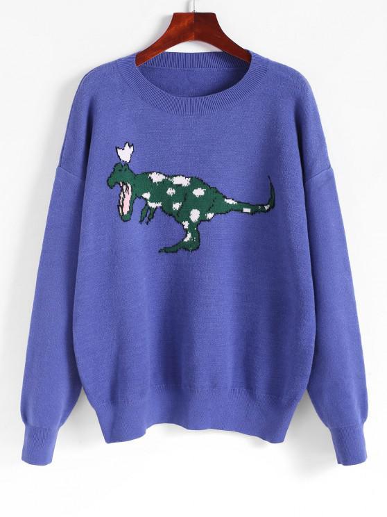 Dinosaurier Grafik Tropfen Schulter Pullover - Blau Eine Größe