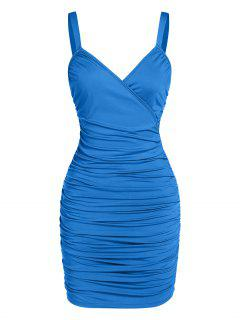 ZAFUL Ruched Surplice Bodycon Mini Dress - Blue Xl