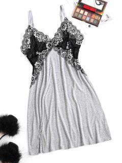 Lace Insert Cami Slit Pajama Dress - Dark Gray M