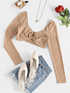 ZAFUL O Ring Ribbed Cropped T-shirt - Light Coffee S