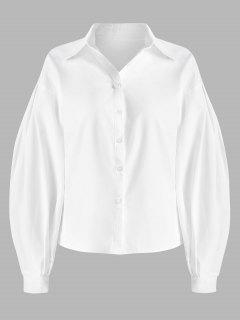Ballonhülsenknopf-Hemd-Hemd - Weiß S