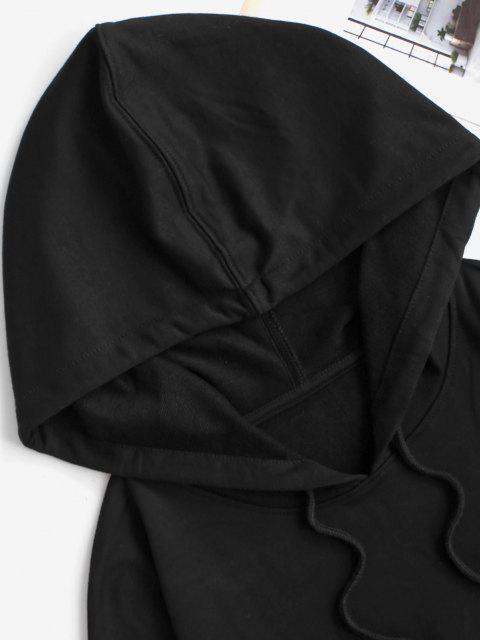 Kapuze Fallschulter Taschen Tunnelzug Sport Shorts Set - Schwarz S Mobile